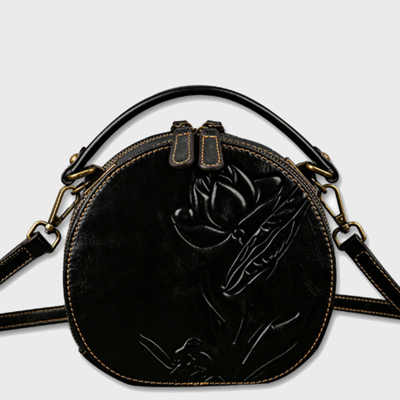 2020 New Genuine Leather Retro Lotus Embossed Cute Round Shoulder Bag-Black