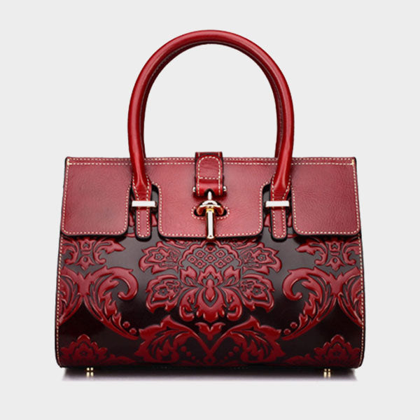 Vintage Genuine Leather Lady Handbag-Red