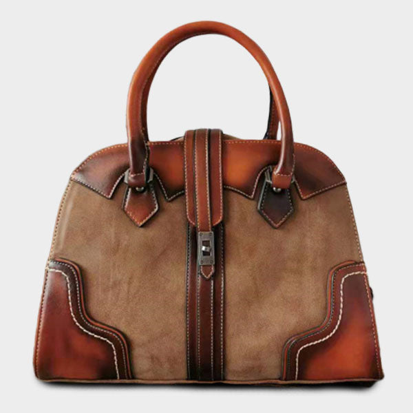 British Style Genuine Leather Contrast Color Large Capacity Handbag-Brown
