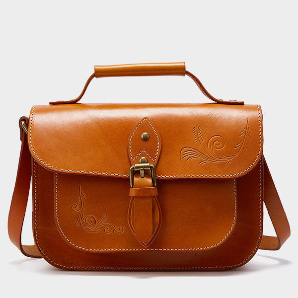 2019 New Multi-function Genuine Leather Embossed Flower Cambridge Bag-Brown