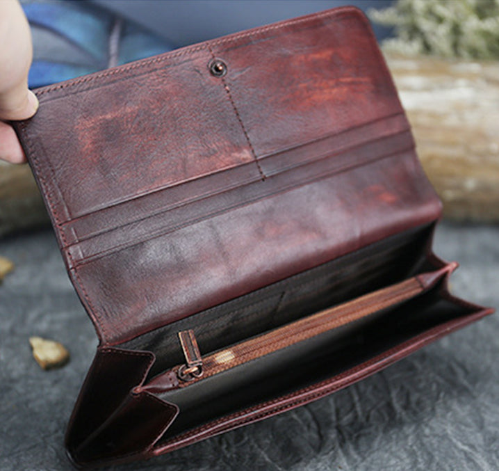 Genuine Leather Vintage Embossed Wallet-Brownness