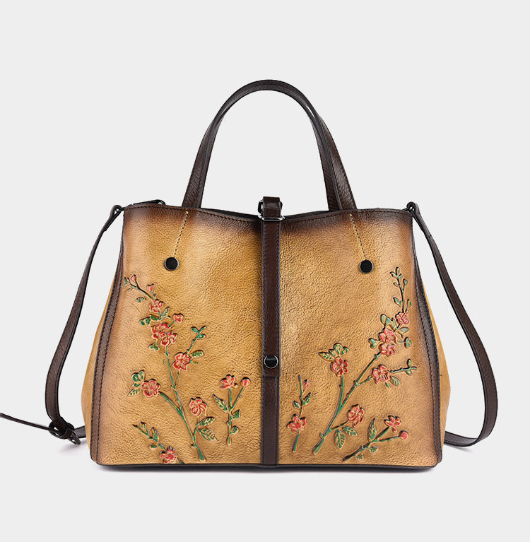 Retro Plum Blossom Embossed Genuine Leather Shoulder Bags-Yellow