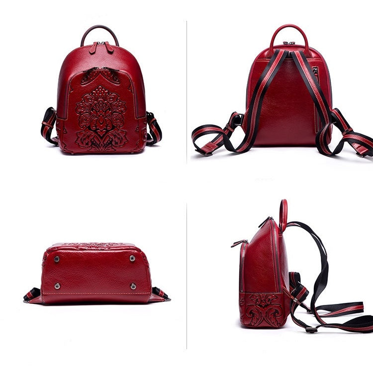 Genuine Leather Vintage Carved Backpack-Red