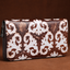 Handmade Pattern Embossed Genuine Leather Long Wallet-White&Coffee