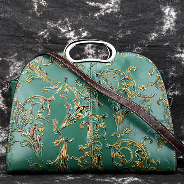 Water Lotus Pattern Embossed Retro Handbag - Green