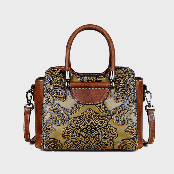 2019 Vintage Flower Embrossed Brush-off Leather Handbag-Yellow