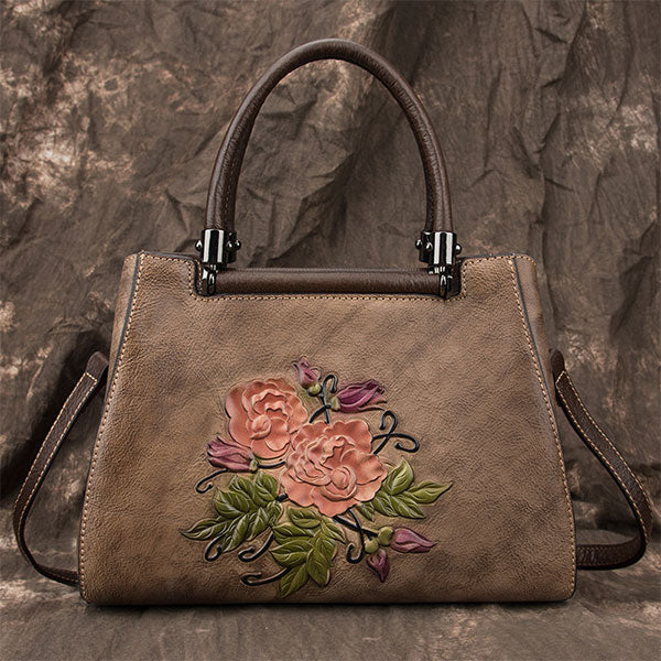 Handmade Brush-off Color Rose Embossed Genuine Leather Large Capacity Messenger Bag-Coffee
