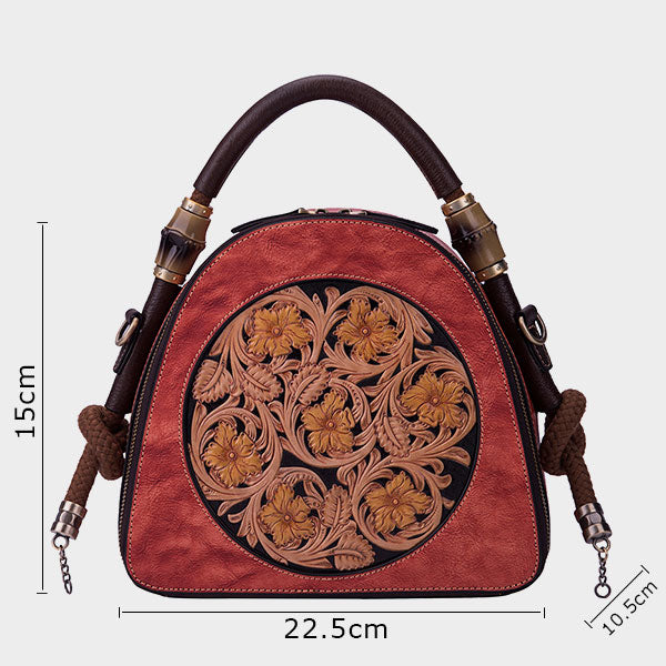 Genuine Leather Floral Crossbody Bag-Purple