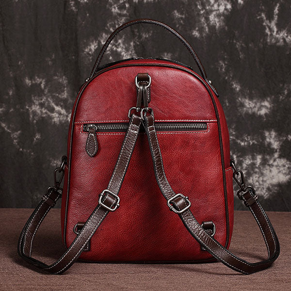 Retro Style Solid Color Simple Genuine Leather iHgh Quality Large Capacity Daily Backpack - Red