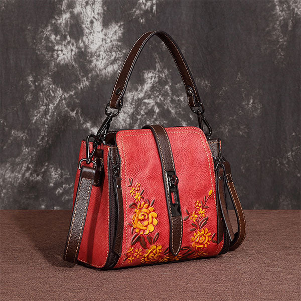 Rose-Flower Embossed Zipper & Buckle Vintage Genuine Leather Shoulder Bag-Red