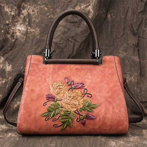 Handmade Brush-off Color Rose Embossed Genuine Leather Large Capacity Messenger Bag-Red