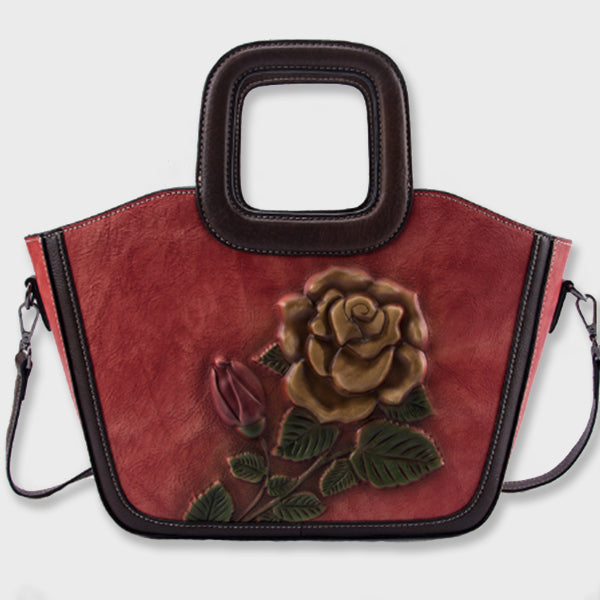 Genuine Leather  Brush-off Retro Floral Printed Shell Bag-Red