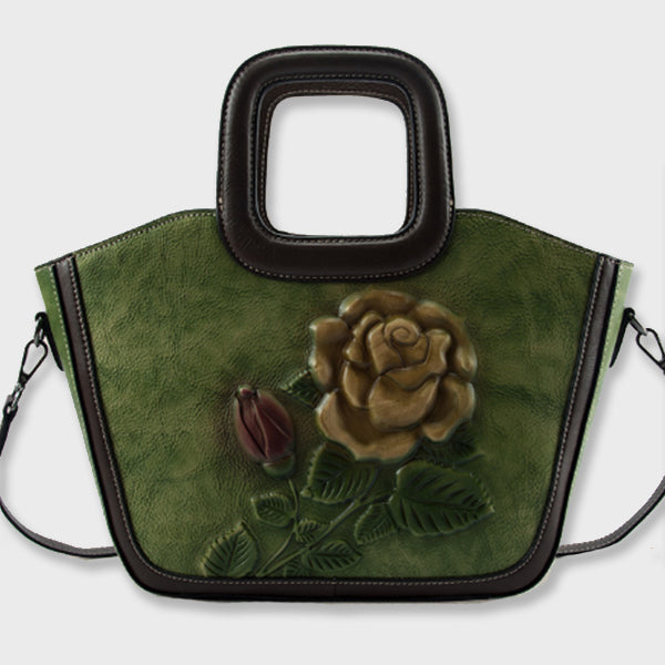 Genuine Leather  Brush-off Retro Floral Printed Shell Bag-Green