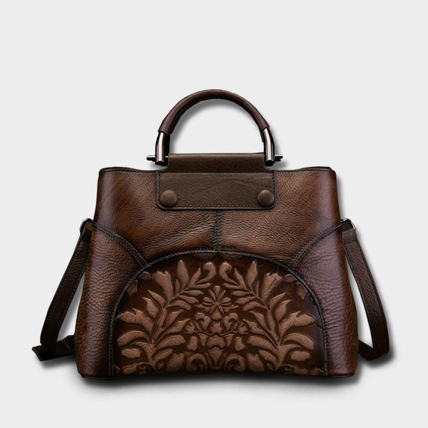 Printed Vintage Genuine Art Leather Handbag-Brown