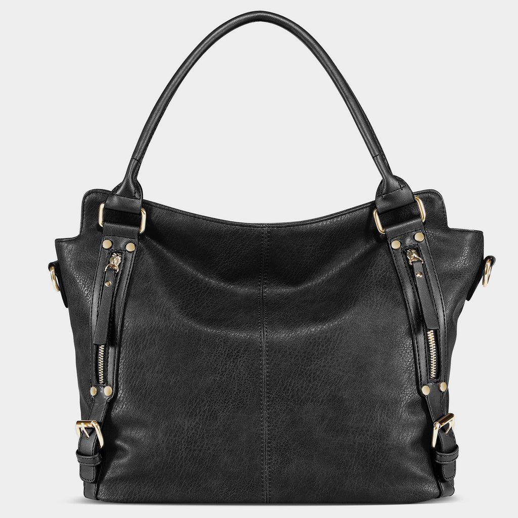 4 Colors Leather Handbag-Black
