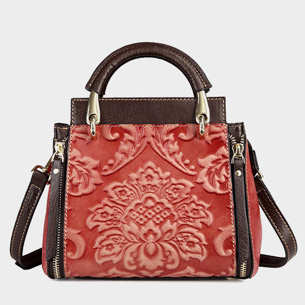 Carved  Vintage Genuine Leather Square Crossbody Bag-Red