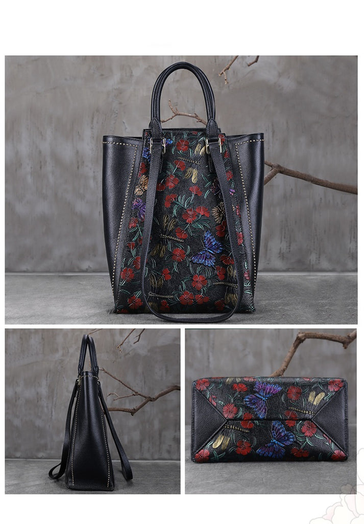 Floral Vintage Genuine Leather Tote Bag-Red Butterfly