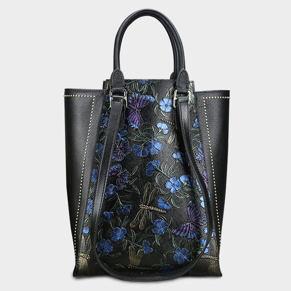 Floral Vintage Genuine Leather Tote Bag-Blue Butterfly