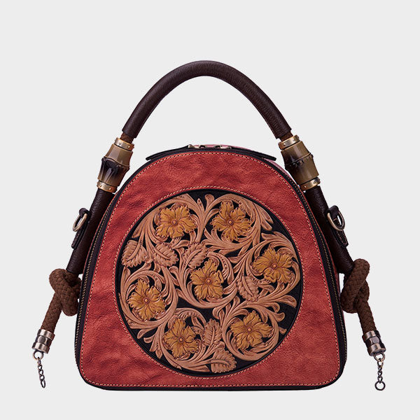 Genuine Leather Floral Crossbody Bag-Red