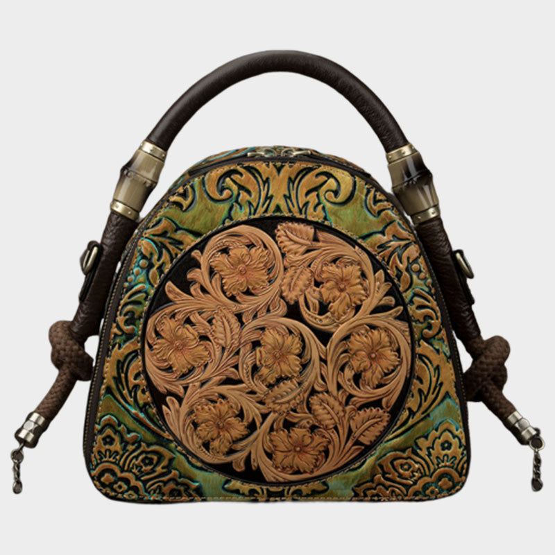 Handmade Floral Genuine Leather Handbag-Green