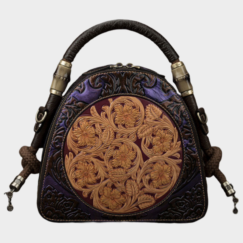 Handmade Floral Genuine Leather Handbag-Purple