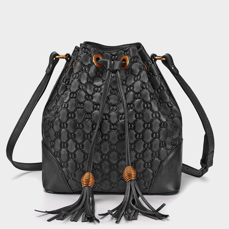 Handmade Solid Genuine Leather Bucket Bag-Black