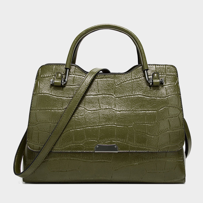 Retro Oil Wax Large Capacity Handbag-Green