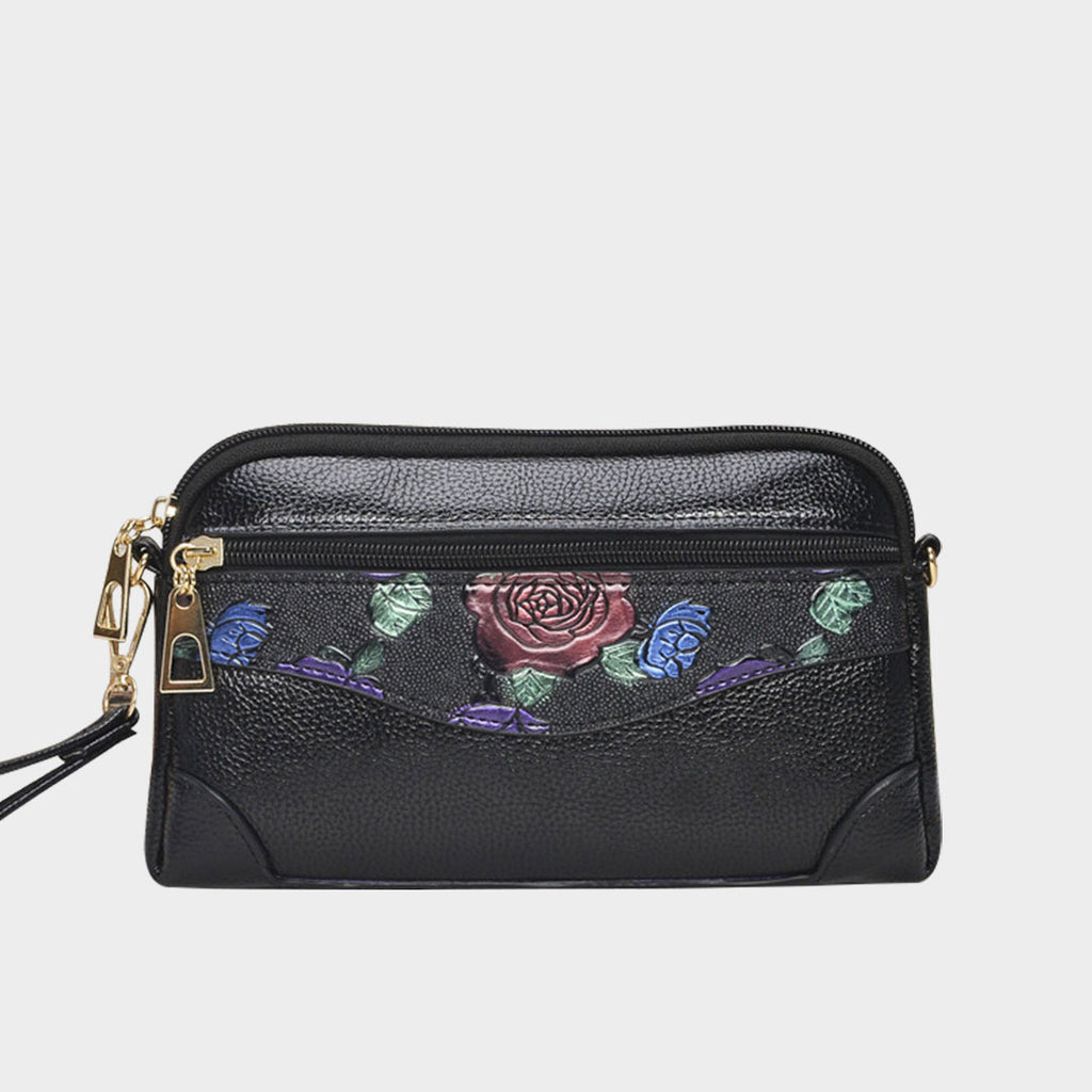 Retro Carving Floral Crossbody Bag-Rose
