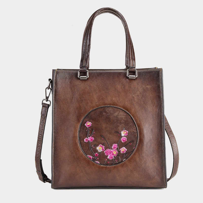 Vintage Flower-Plum Blossom Genuine Leather Carved Handbag-Brown