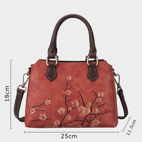 Flower-Plum blossom Vintage Genuine Leather Handbag-Coffee Brown