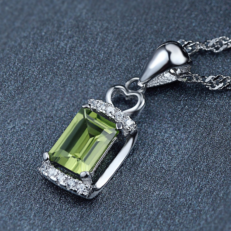 8x12mm Silver Green Peridot Pendant Created Natural Birthday Gift For Girls