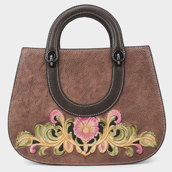 Large Capacity Engraved Symmetrical Embossed Genuine Leather Tote Bag-Coffee