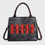 Vintage Brush-Off Pictograph Embossed Design Handbag-Black