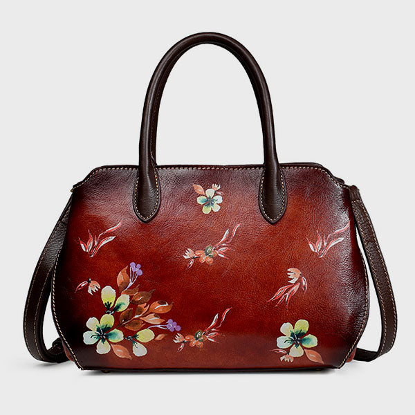 Vintage Casual Handmade Brush-off Floral Printed Messenger Bag-Brown