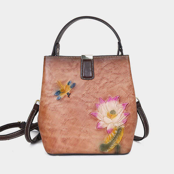 Dragonfly&Lotus Embossed Medium Capacity Bucket Bag-Yellow