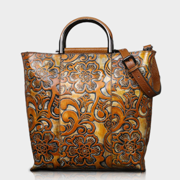 Special Pattern Embossed Commuter Oversized Tote Bag - Yellow