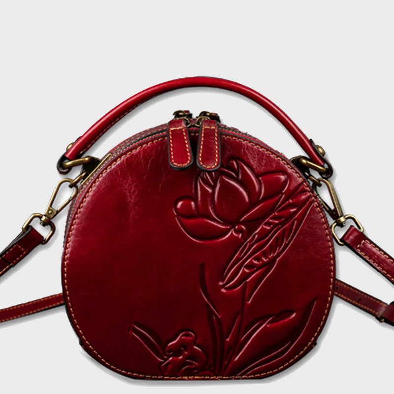 2020 New Genuine Leather Retro Lotus Embossed Cute Round Shoulder Bag-Red