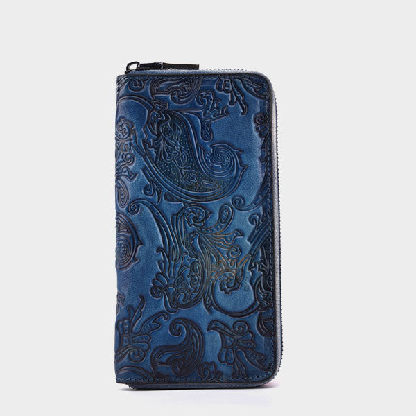 Brush-off Color Retro Zipper Multi-card Genuine Leather Long Wallet-Blue