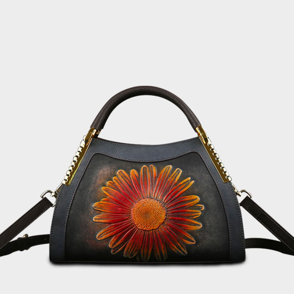 Genuine Leather Sun Flower Embossed Brush-off Color Large Capacity Boston Bag-Gray