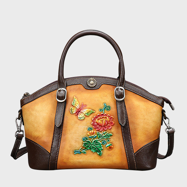 Handmade Brush-off Color Flower Embossed Retro Genuine Leather Large Capacity Tote-Yellow
