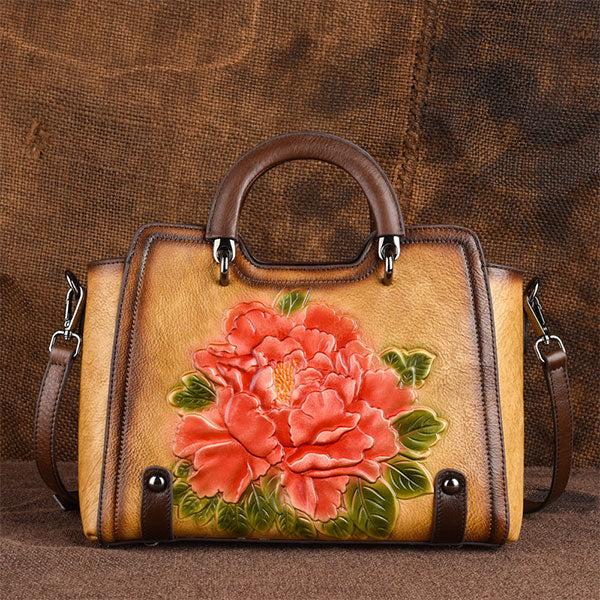 Vintage Rose Embossed Handmade Brush-off Color& Unique Coloring Process Genuine Leather Tote Bag-Yellow