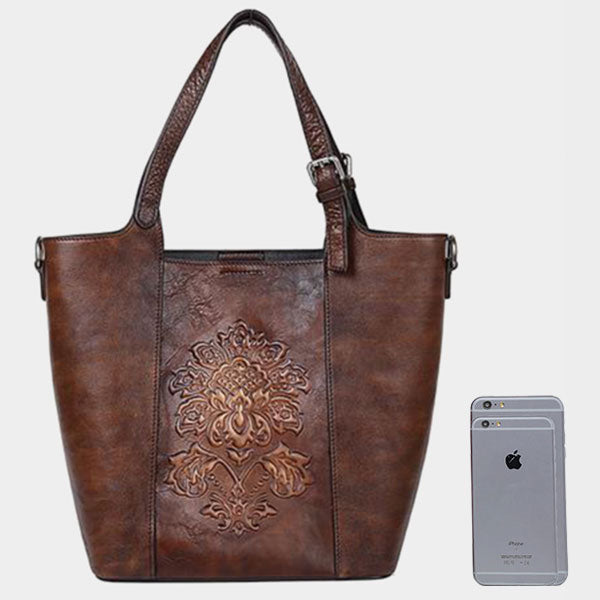 Embossed Vintage Diagonal Handbag-Coffee Brown