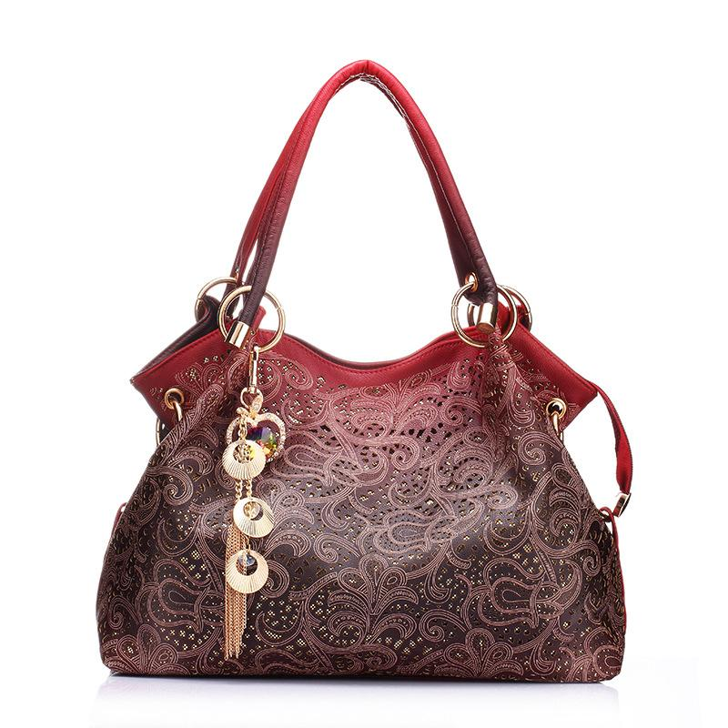 Carved Hollow Tote Bag-Red