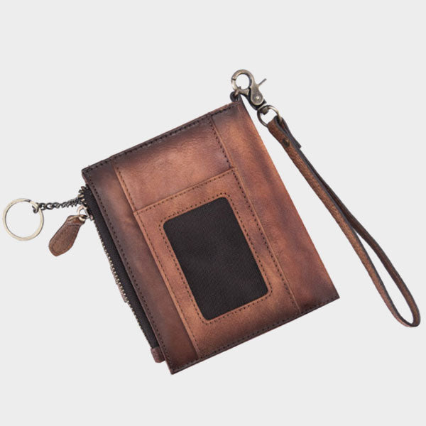 Retro Short Genuine Leather Casual Folding Wallet - Brown
