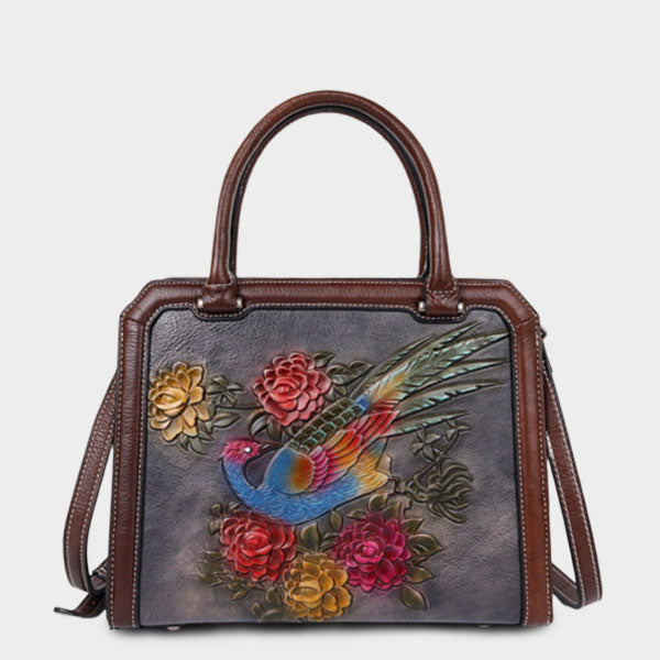Handmade Genuine Leather Floral Square Bag-Black