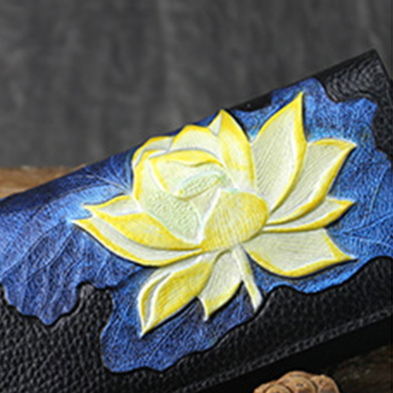 Original 2020 New Retro Genuine Leather Lotus Embossed Portable Long Wallet-Blue