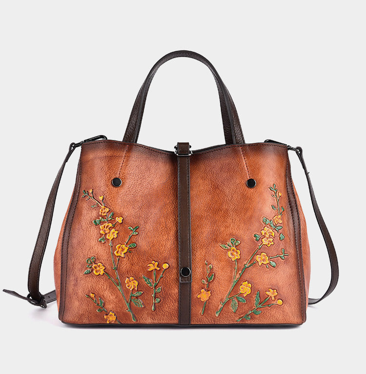 Retro Plum Blossom Embossed Genuine Leather Shoulder Bags-Brown