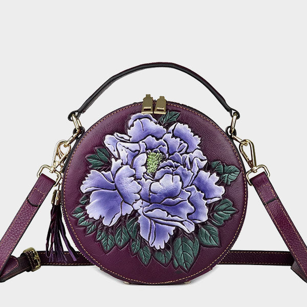 New Round Barrel Genuine Leather Rose Embossed Belt Tassel Shoulder Bag - Purple
