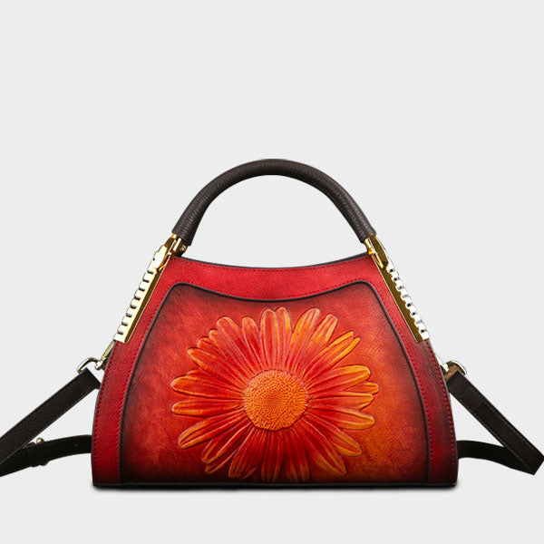 Genuine Leather Sun Flower Embossed Brush-off Color Large Capacity Boston Bag-Red