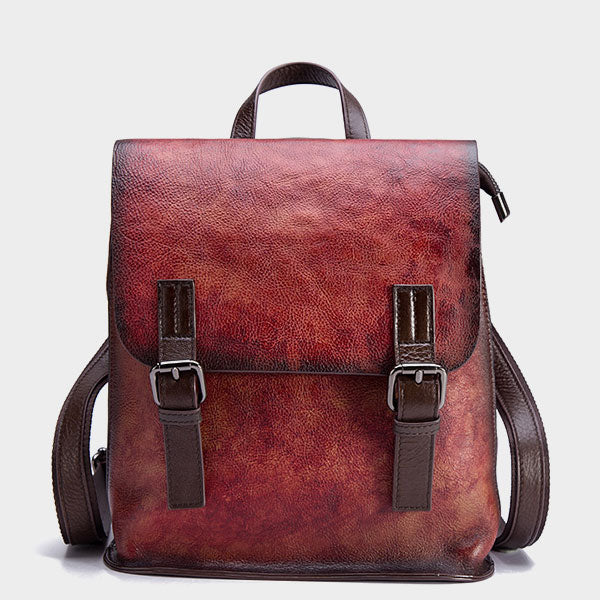 Vintage Handmade Brush-Off Color Fashion Trend Genuine Leather Backpack - Red